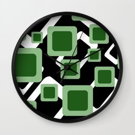Green Grey Vintage rectangles pattern Geometry #society6 Wall Clock