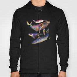 Whales Blues - Watercolor Whales - Pyramid #1 Hoody