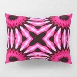 Pink & Black pinwheel Flowers Pillow Sham