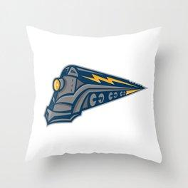 Steam Locomotive Lightning Bolt Mascot Throw Pillow