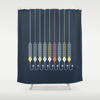 decal Shower Curtains featuring Bait by Friztin by friztin