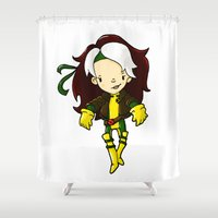rogue Shower Curtains featuring ROGUE by Space Bat designs