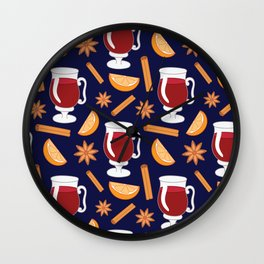 Mulled wine, spiced wine pattern. Wall Clock