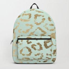 Elegant trendy neo mint gold cheetah animal print Backpack