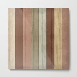 Earth tone Stripe Wood Pattern Metal Print