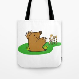 a Mole from the ground greets horsetail Tote Bag