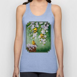 Goldfinches and Spring Apple Blossoms Unisex Tank Top