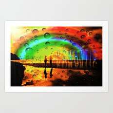 Romantic Sunset Reflections and Rainbow Art Print