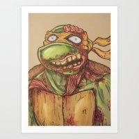 ninja turtle Art Prints featuring zombie ninja turtle by mileshustonart