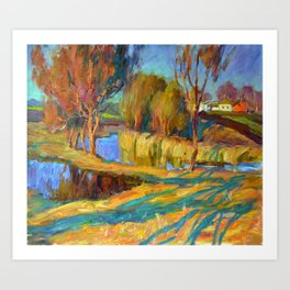 Spring in the village Art Print