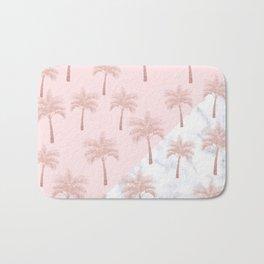 Elegant rose gold glitter palm pattern, white marble & pink Bath Mat