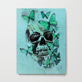 Skull and Butterflies Metal Print
