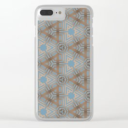 Beige and Blue Contemporary Tribal Pattern Clear iPhone Case