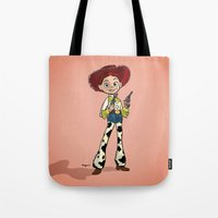 toy story Tote Bags featuring Toy Story | Jessie by Brave Tiger Designs
