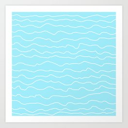 Turquoise with White Squiggly Lines Art Print