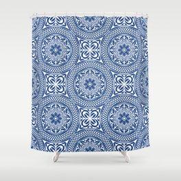 vintage bohemian summer beach navy blue mandala moroccan pattern Shower Curtain