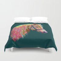 pony Duvet Covers featuring Rainbow Pony. by HelenMacNee