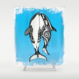Two Orca Whales Tribal Blue Art Shower Curtain