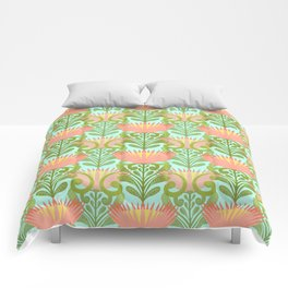 King Protea Flower Pattern - Turquoise Comforters