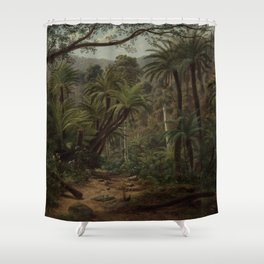 Ferntree and Palms, Tropical Gully landscape portrait by Eugene von Guerard Shower Curtain