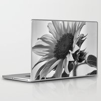 gemma correll Laptop & iPad Skins featuring Sunflower Black & White by 2sweet4words Designs