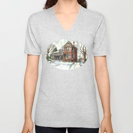 Victorian House in The Avenues Unisex V-Neck