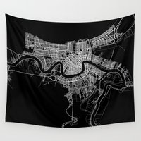 new orleans Wall Tapestries featuring New Orleans map by Line Line Lines