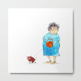 Grandma and her dog Metal Print