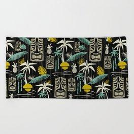 Island Tiki - Black Beach Towel