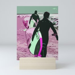 Two Surfers off to catch a wave Mini Art Print