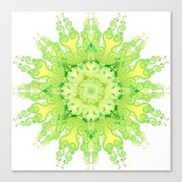 Curly Mandala in fresh lemon&green Canvas Print