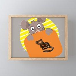 rat and cat Framed Mini Art Print