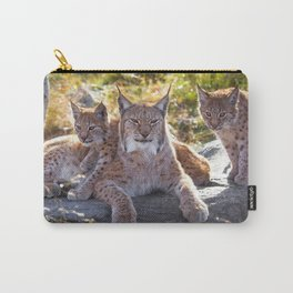 Graceful Wonderful Female Lynx Mother With Two Super Cute Kitten Close Up Ultra HD Carry-All Pouch