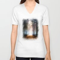 forest V-neck T-shirts featuring Enchanted Forest by Viviana Gonzalez