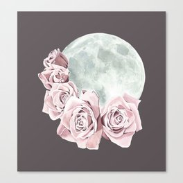 Roses and Moon (Gray) Canvas Print