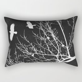 Crows Flying Over Trees Negative Silhouette Rectangular Pillow