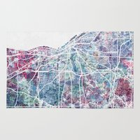 cleveland Area & Throw Rugs featuring Cleveland map by MapMapMaps.Watercolors