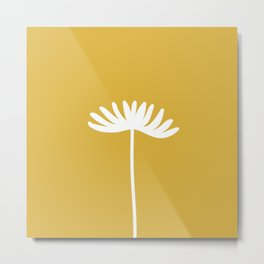 Tall Flower Minimalist Floral in White and Light Mustard Metal Print