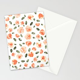 Peach Roses with Olive Leaves // Hand Painted Watercolor Flowers // Peach Roses with Green Leaves Stationery Cards