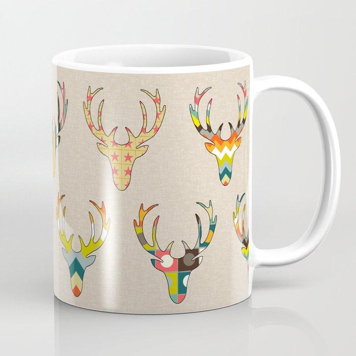retro deer head on linen Coffee Mug