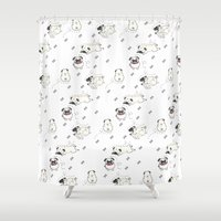 pugs Shower Curtains featuring Pugs by Alisse Ferrari
