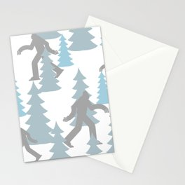 Pastel Blue Grey Winter Forest Yeti sasquatch silhouette  Abominable Snowman BigFoot  Stationery Cards