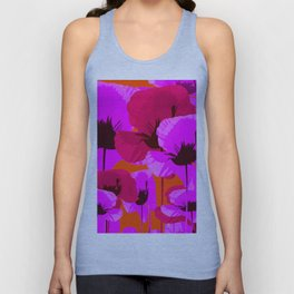 Pink And Red Poppies On A Orange Background - Summer Juicy Color Palette - Retro Mood Unisex Tank Top