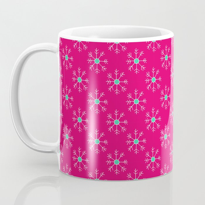 Magenta and Teal Snowflakes Coffee Mug