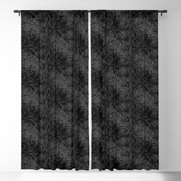 Abstract Botanical Pattern on Black Blackout Curtain