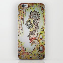 Face in the Cave Watercolor Ink Doodle iPhone Skin