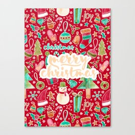 Merry Christmas watercolor Canvas Print