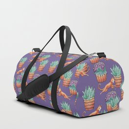 vase of flowers and cats Duffle Bag