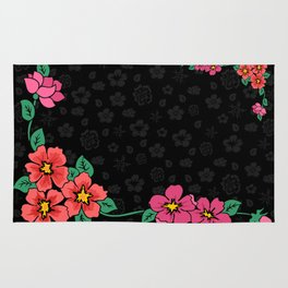 Abstract floral corner with dark background Rug