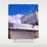 popeye Shower Curtains featuring  Popeye's Boat by Bruce Stanfield